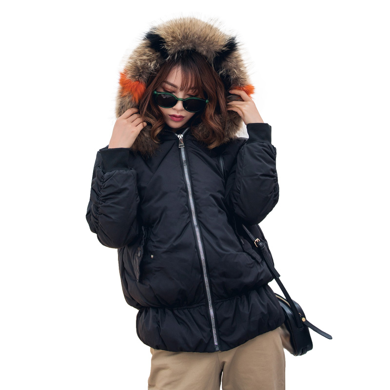Parkas D'hiver Manteaux 2018 Fourrure noir Capuchon Chaude À Pour Beige Vestes Veste En Et Hiver Mince Col Date Fausse Femmes Coton BqBpaw5Xx