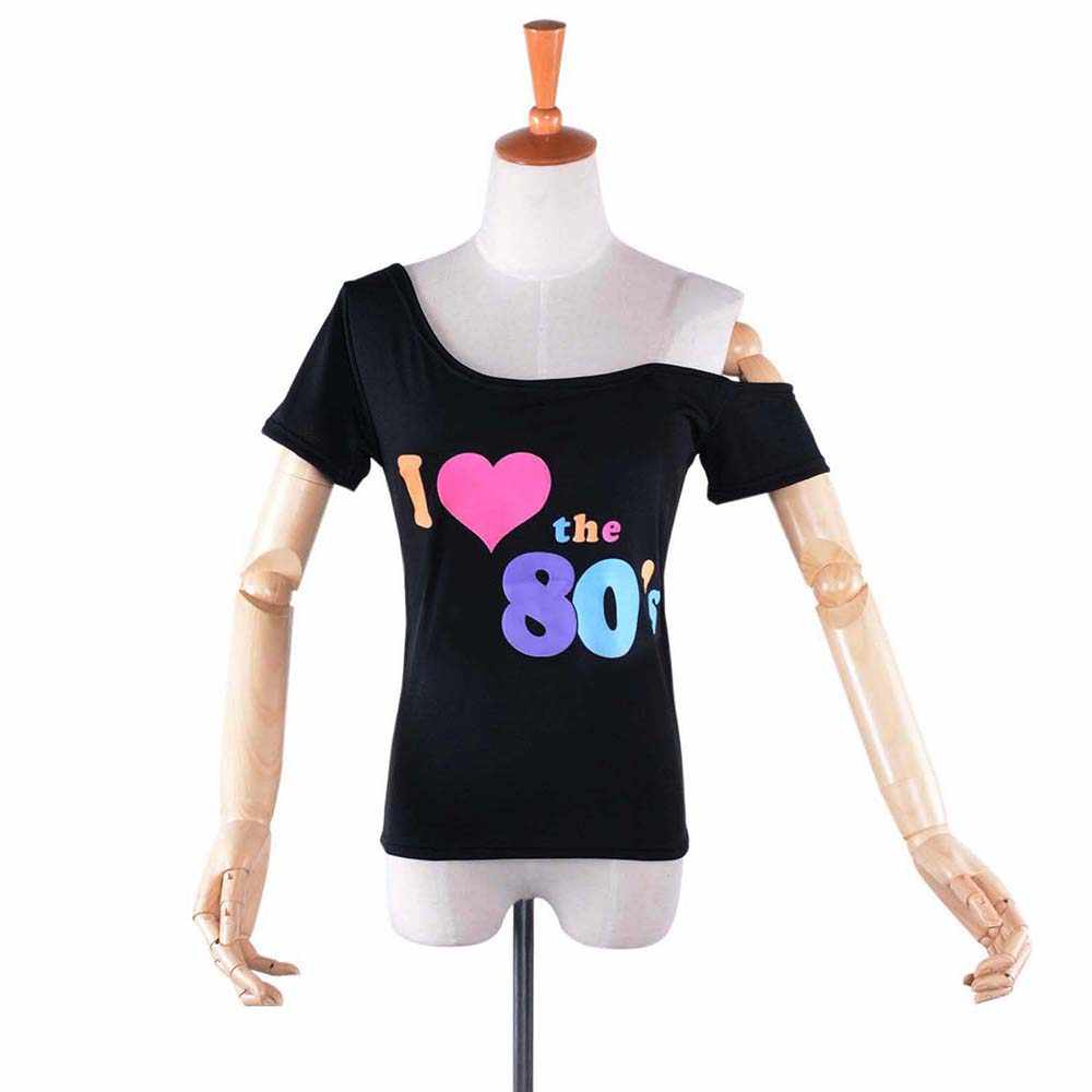 33864aa2a44 ... 80s T-shirt Costume Women I Love 90s Retro Disco Outfit with Gloves  Accessories Rock ...