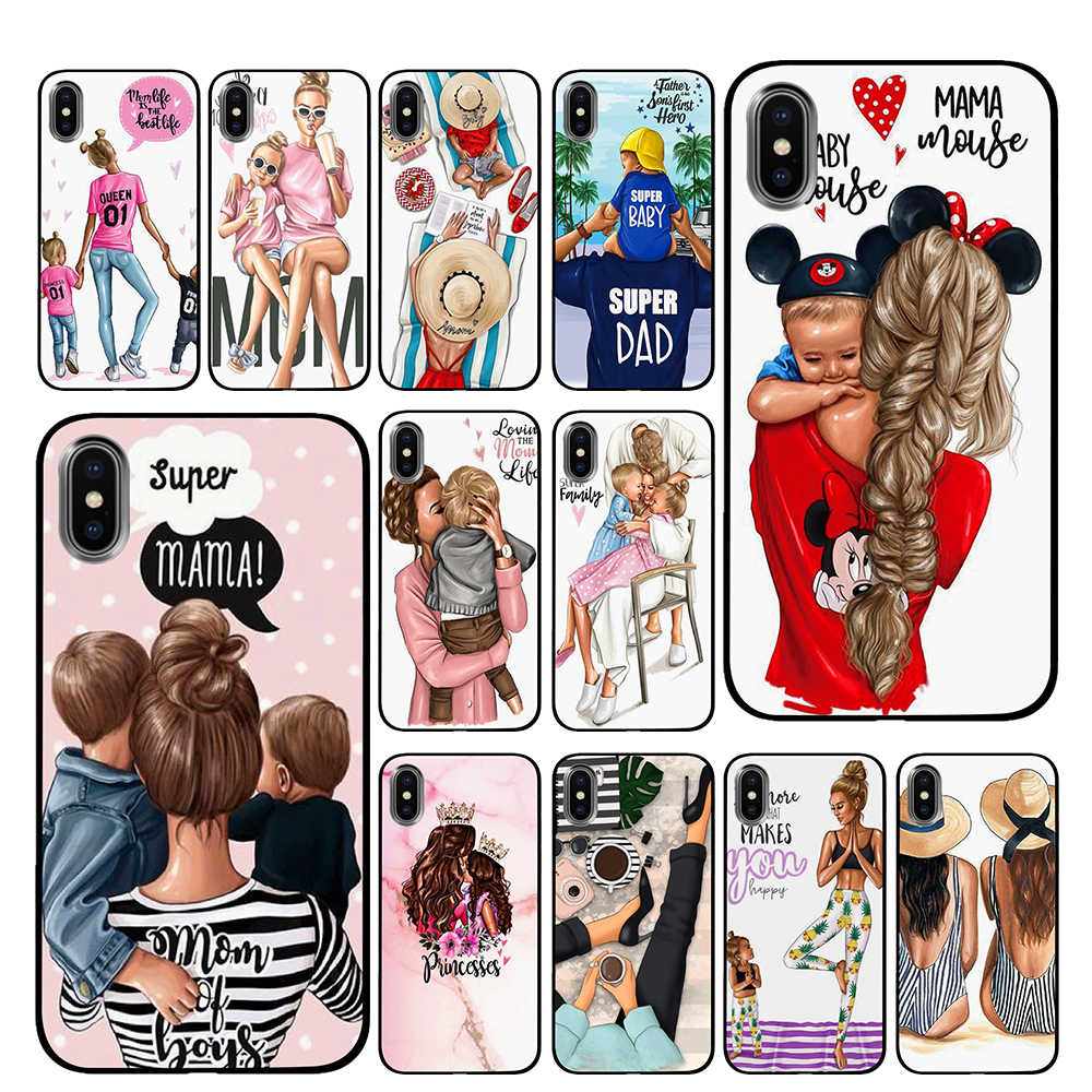 Brown Hair Baby Mom Girl Queen Soft TPU Phone Cases cover for Apple iPhone 5 5S SE 6 6s 7 8 Plus X XS Max XR