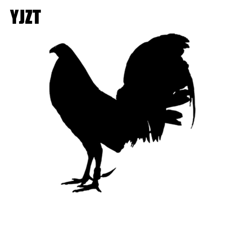 YJZT 13.2CM*14.5CM Funny Animal Gamefowl Rooster Vinyl Car Sticker Decor Decal Black/Silver Accessories C11-0995