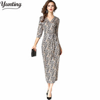 2017 Sexy V Neck Long Sleeve Split Leopard Printing Dress Beach Dress