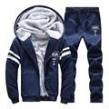 2016 New Winter Plus Velvet Suit Men Hoodies Warm Thicken Slim Fit Sporting Suit Mens Hoodies And Sweatshirts