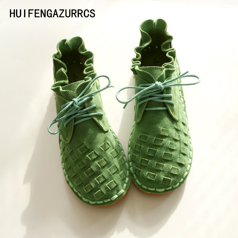 HUIFENGAZURRCS-pure handmade shoes,the retro art mori girl Flats shoes,fashion casual shoes,Vintage sweet leather shoes ,3 color the pure abscess