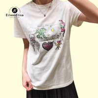 Summer White T Shirt 2018 Women O Neck Short Sleeve Tees Cartoon Print T Shirt Casual