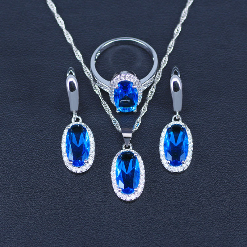 Bridal-Jewelry-Sets Pendant/ring/Necklace-set Silver Natural-Blue Cubic-Zirconia Women