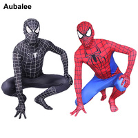 Black Red Spider man Costume Men Adult Spiderman Cosplay Suit Spandex Superhero Costume With Mask Halloween Party Zentai Suit