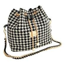 Asds женщины ломаную клетку мешок цепи ведро мешок холст лоскутное сумка сумка черно-белая сетка