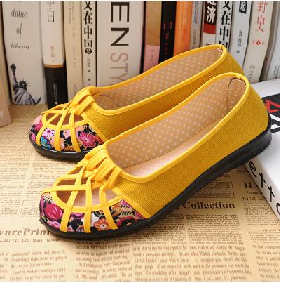 HUANQIU 2017 Plus Size 35-41 Summer New Brand Women Flats Shoes Women Canvas Shoes Hollow out breathable Loafers Espadrilles G11
