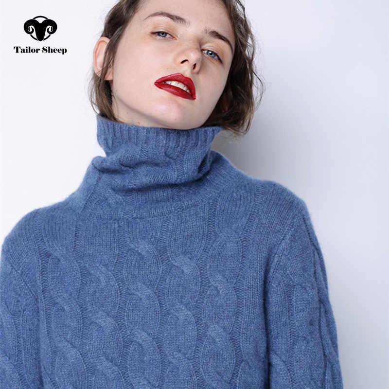 겨울 두꺼운 터틀넥 스웨터 여성 100% 순수 캐시미어 스웨터 여성 트위스트 니트 bottoming 따뜻한 풀 오버