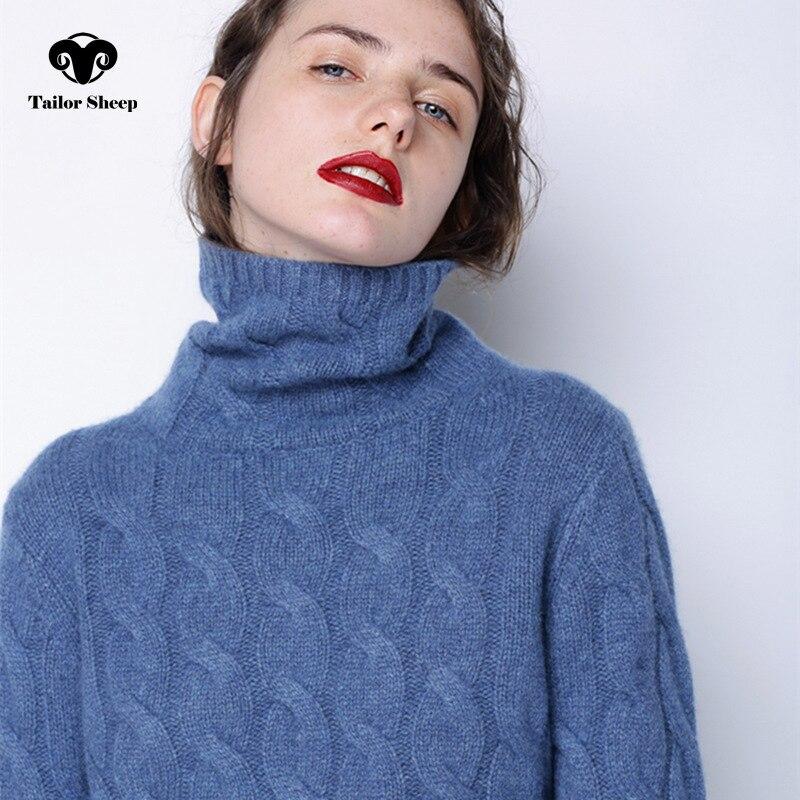 Inverno maglione a collo alto spessore delle donne 100% puro cashmere maglione femminile torsione a maglia che basa pullover caldo