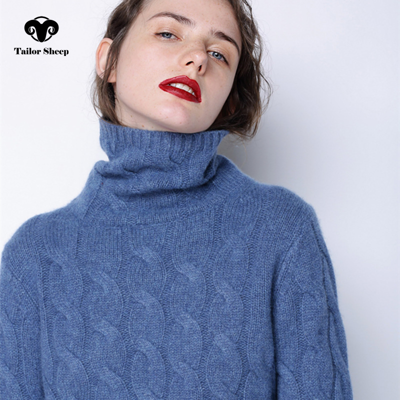 Winter Thick Turtleneck Sweater Women 100% Pure Cashmere Sweater Female Twist Knitted Bottoming Warm Pullover