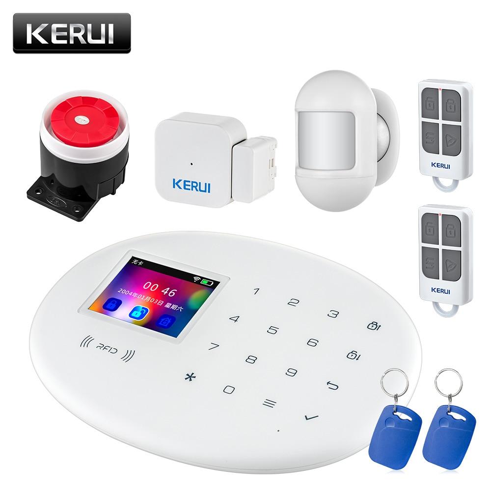 KERUI W20 nuevo modelo inalámbrico 2,4 pulgadas Panel táctil WiFi seguridad GSM sistema de alarma antirrobo teléfono APP RFID tarjeta de Control para el hogar