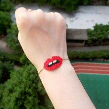 FAIRYWOO Sexy Red Lip Bracelets Miyuki Beaded Woman Stainless Steel Chain Cute Golden & Pendant Friendship Girl Gifts