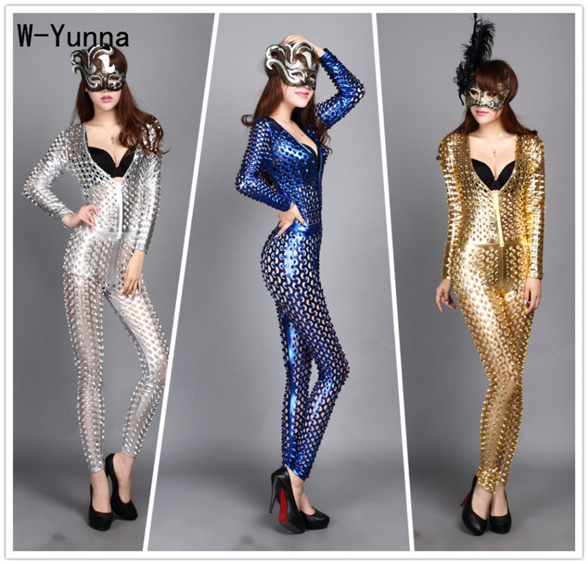 Nightclub sexy women's fish scale imitation leather   jumpsuit   polyester hole design rompers gold silver black blue red   jumpsuit