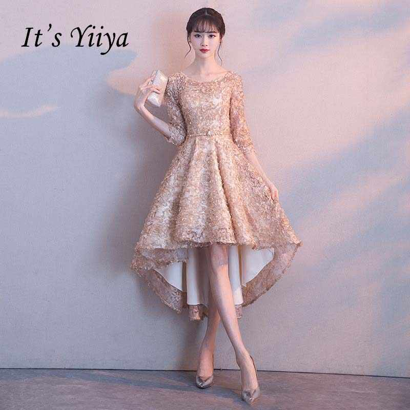 ad6e92d48a41 Detail Feedback Questions about It's YiiYa Half Sleeves High Low Flower  Floral Appliques Tea Length Bridesmaids Dresses Zipper Illusion Short  Formal Dress ...