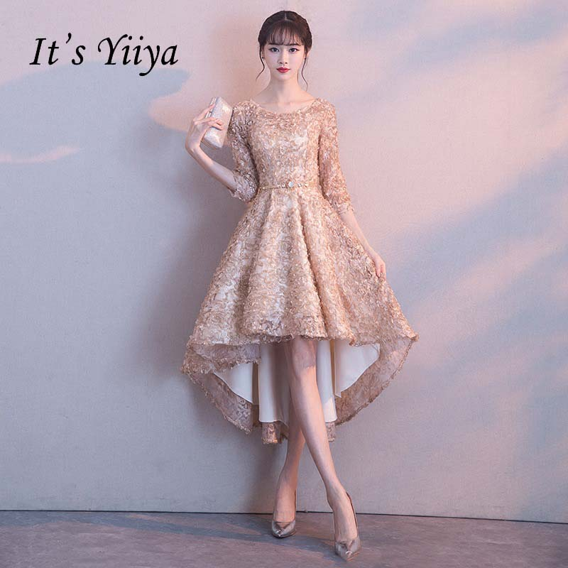 It's YiiYa Half Sleeves High Low Flower Floral Appliques Tea Length   Bridesmaids     Dresses   Zipper Illusion Short Formal   Dress   YS031