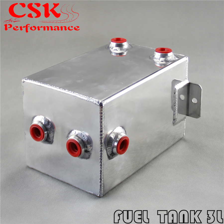 Universal 2L Aluminium AN6 Male Port Fuel Surge Tank 2 Litre Swirl Port Polished