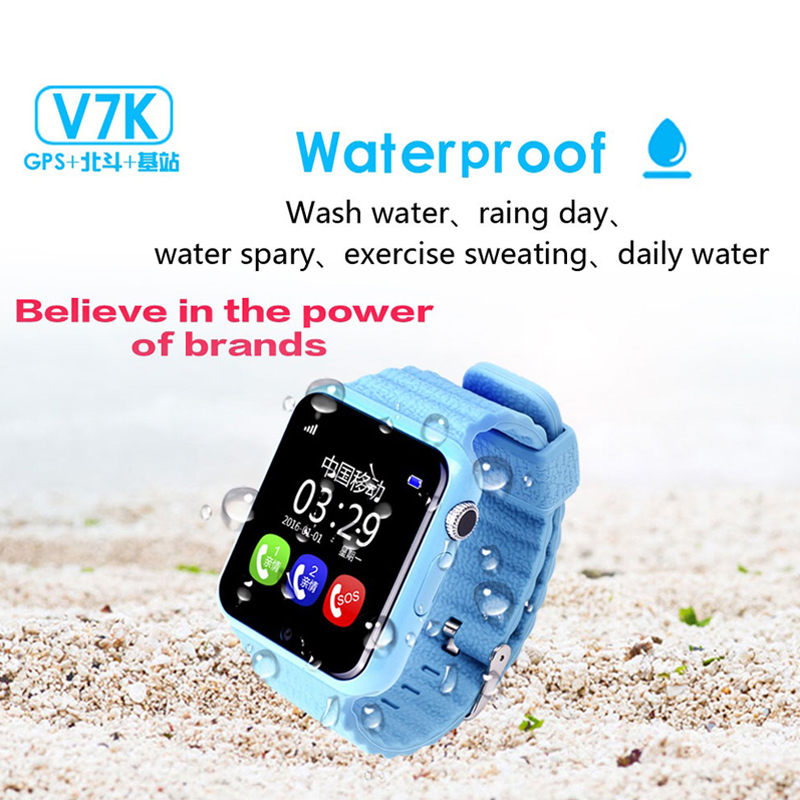 Espanson Children GPS Smart Watch With Camera Facebook SOS Emergency Security Anti Lost For ISO Android waterproof baby Watch V7