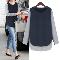 Spring New European And American Women Striped Stitching Large Loose Shirt Plus Size L XL XXL