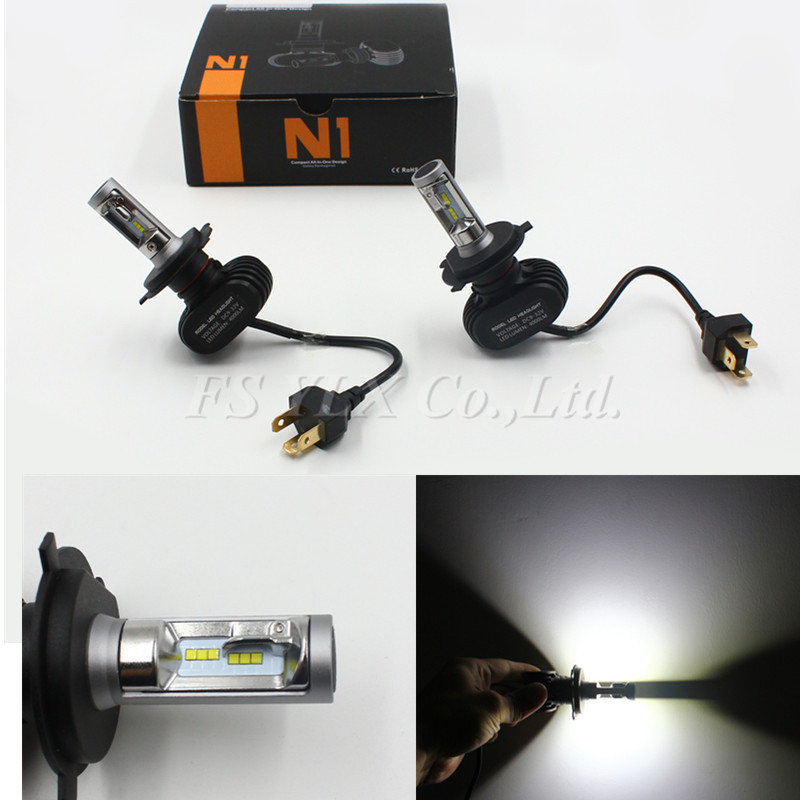 5sets Newest Car Motorcycle Bike H4 LED Headlight 50W 8000lm Slim LED Hi/Lo High/Low Beam Headlight Kit 6500K Replace Xenon Bulb