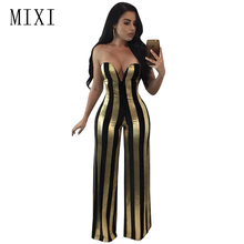 MIXI Women Party Elegant Jumpsuit Strapless V Neck Backless Black Gold Striped Wide Leg Pant Rompers Sexy Overalls