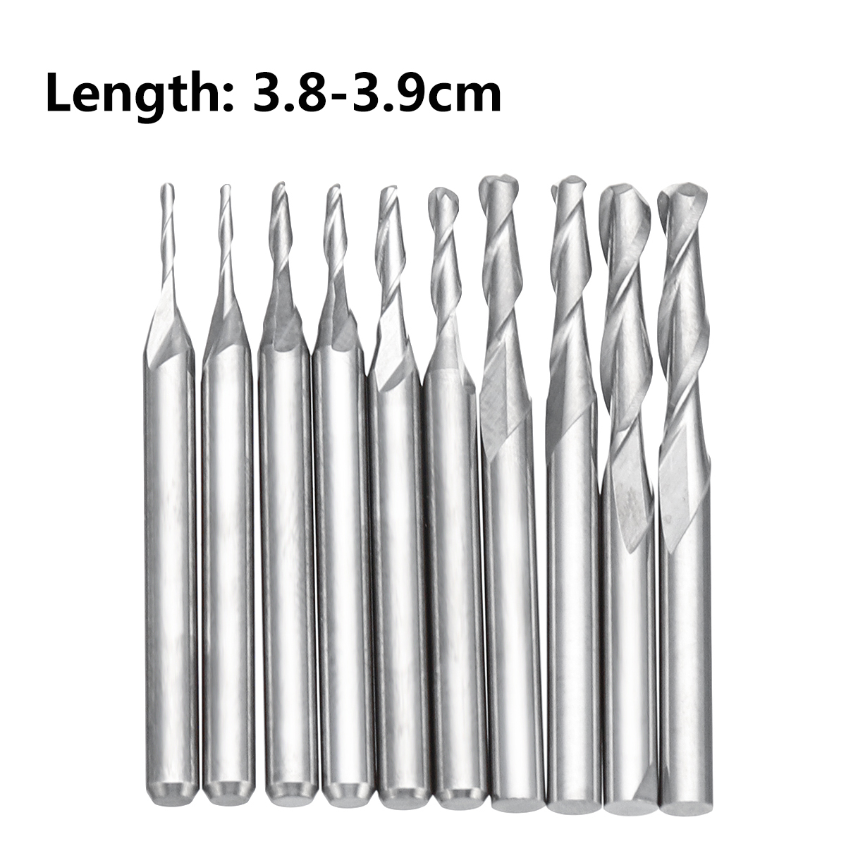 End Mill Set Shank Carbide Ball Nose 10pcs 2 Flutes 1/8 Inch CNC Cutting Tool Milling Cutter 1mm-3.175mm for Wood Working r0 4x0 8x6x4x50l 20pcs deep neck groove carbide ball nose end mill 2 flutes hrc55 with coating cnc milling cutter