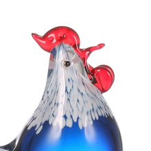 Tooarts Small Chicken Figurine Glass Statuette Home Decor Glass Chinese Art Ornament Sculpture Gift Animal Craft For Home Office