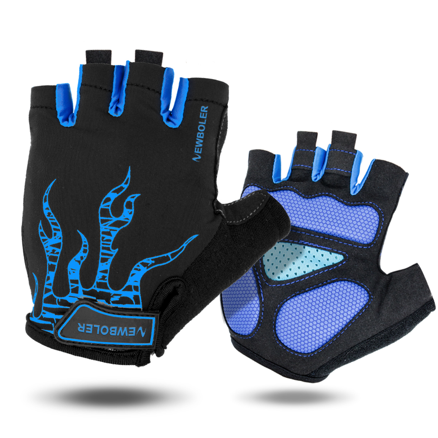 NEWBOLER Half Finger Cycling Gloves Mens Women's Summer Sports Bike Gloves Nylon Mountain Bicycle Gloves Guantes Ciclismo