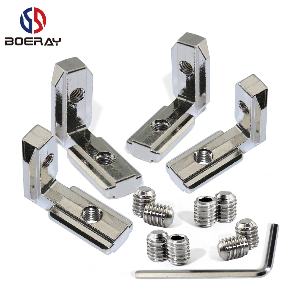 16pcs/20pcs L Shape Type Interior Inner Corner Connector Joint Bracket for 2020/3030 Aluminum Profile (with screw+wrench) цена