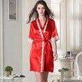 Имитация шелковые пижамы оптом весной и летом женщин Виктория шелковой ночной рубашке Пижамы