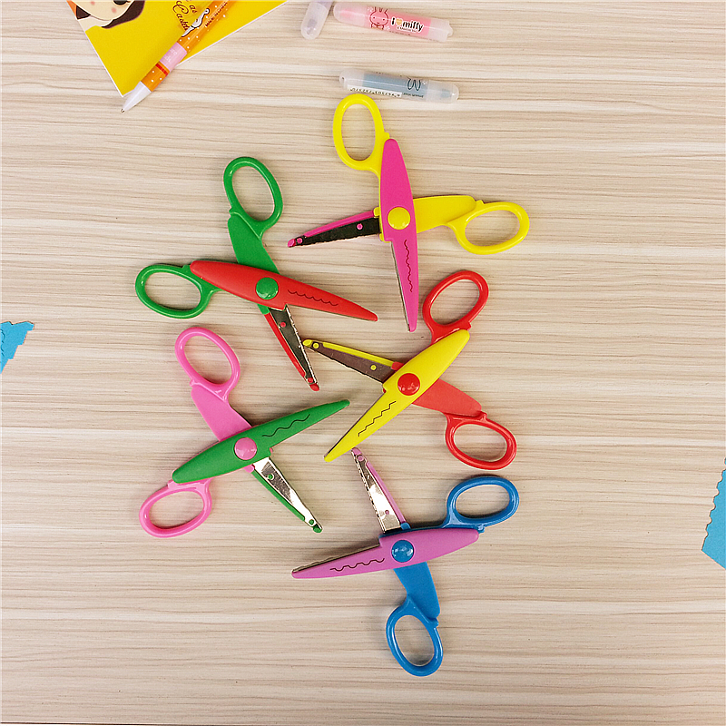 HML Laciness Scissors Metal And Plastic DIY Scrapbooking Photo Colors Scissors Paper Lace Diary Decoration