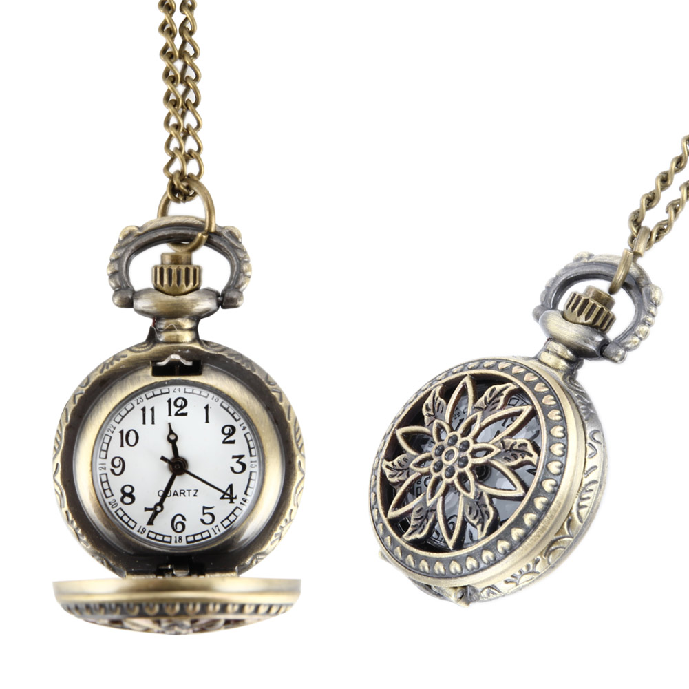Fashion Vintage Women Pocket Watch Alloy Retro Hollow Out Flowers Pendant Clock Sweater Necklace Chain Watches Lady Gift AIC88