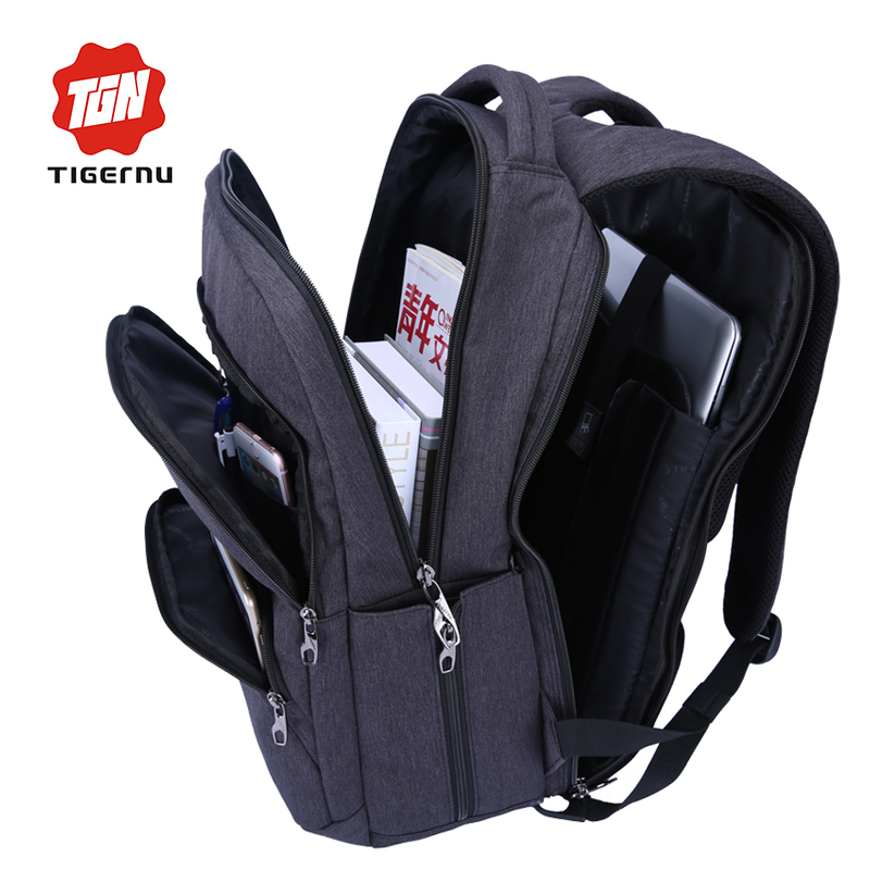 2017 Tigernu Waterproof Large Capacity 17 Inch Man Backpack Laptop Bag Black Backpack for Women School Bags Mochila Masculina