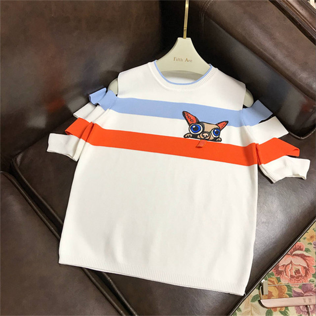 2018 Runway Designer Luxury T-shirts for Women Off The Shoulder Striped Patchwork Cartoon Dog Embroidery Knitted Top Tee White