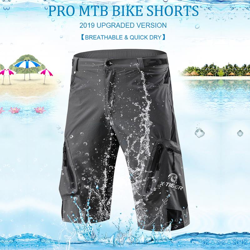 X-Tiger Men's Cycling Shorts With 5D Gel Pad Cycling Underwear Mountain Bike Downhill Shorts Loose Outdoor MTB Bicycle Shorts