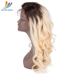 Image 4 - Sevengirls 360 Lace Frontal Wigs Brazilian Loose Wave Ombre 2#/613 Color Human Hair Wigs With Baby Hair For Women Free Shipping
