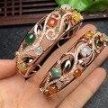 Limpar a superfície 4*6mm, s925 prata 100% clássico natural pulseira de jade natural tamanho interno é de 58mm mulheres pulseiras