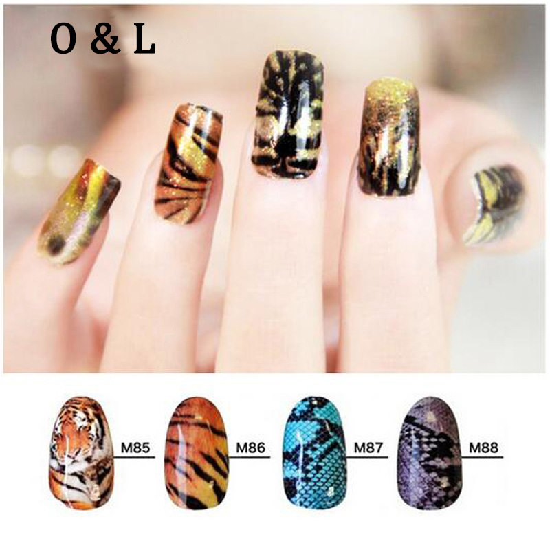 1pcs Hot Tiger Snake Skin Pattern Water Decals Transfer Stickers on font b Nails b font