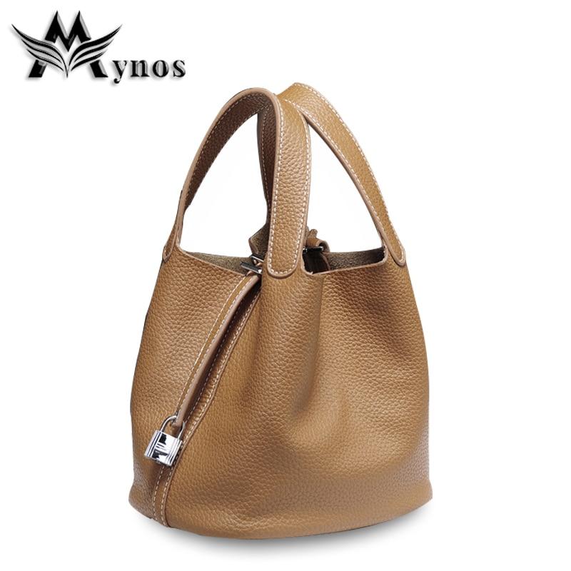 ФОТО Mynos Fashion Genuine Leather Women Handbag Famous Brand Designer Women Shoulder Tote Bag Female Top-handle Sac a Main Bolsos