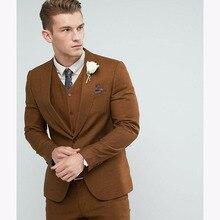 2018 Brown Men Suit Skinny 2017 new Custom Made Groom mens suits Tuxedos terno slim fit khaki Groomsman Suit (jacket+pants+vest)