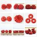 Best-selling synthetic red cinnabar carving fine pendants newly jewelry diy accessories beads 2pcs B958