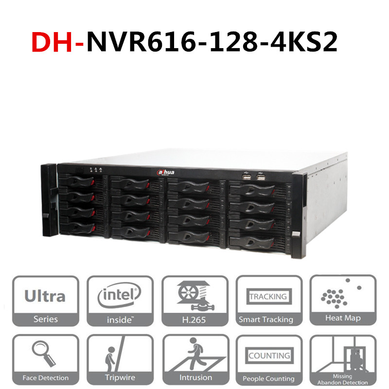 DH 128 Channel Ultra 4K H.265 Network Video Recorder DH-NVR616-128-4KS2 With Logo Max 128 <font><b>IP</b></font> <font><b>Camera</b></font> Inputs <font><b>12MP</b></font> image