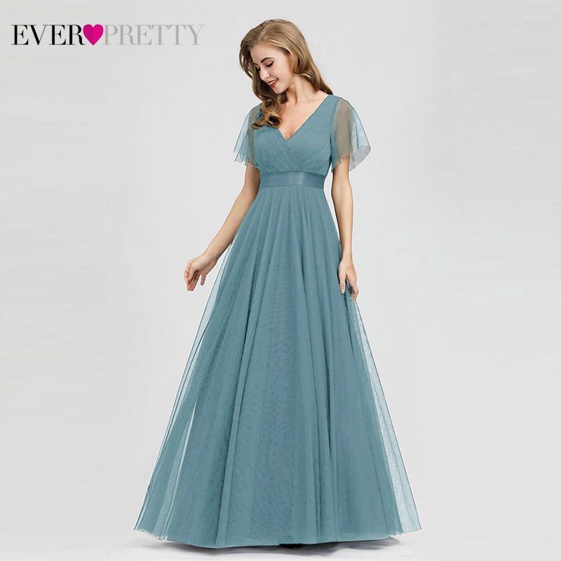 Plus Size Blue Prom Dress 2019 Ever Pretty EP07962 Elegant V Neck Tulle Women Sexy Long
