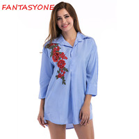 FANTASYONE 2017 Flower Embroidery Three Quarter Sleeve Women Blouses And Shirts Blue Stripe Female Casual Shirt