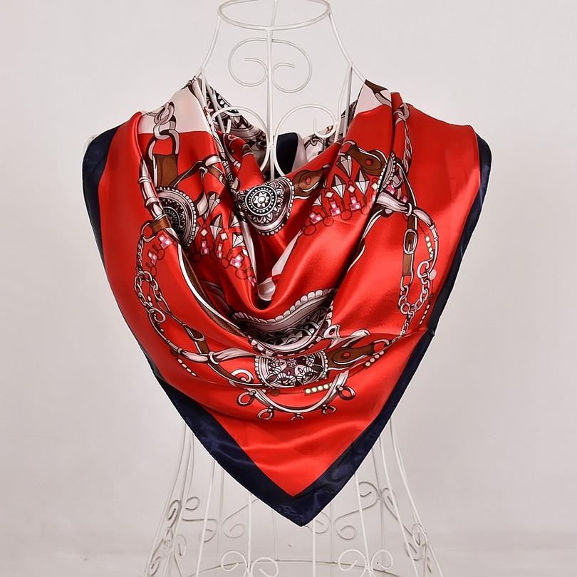 Дизайн женский Шелковый большой квадратный шелковый шарф из полиэстера, 90*90 см горячая Распродажа атласный шарф с принтом для весны, лета, осени, зимы - Цвет: red black 561