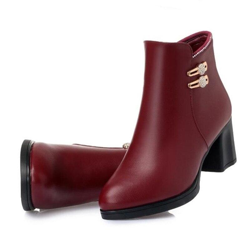 Rhinestone Mujer Marca Botines Moda Tinto Botas Altos 2018 Invierno Elegante Cálido Zapatos De Real Tacones Zxryxgs vino Confort Negro Cuero E8dqq