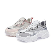 Zhenwei Air Mesh Women Sneaker Shoes Summer Round-end  Snake Color-matching Breathable Daddy Chunky Fashion Ins