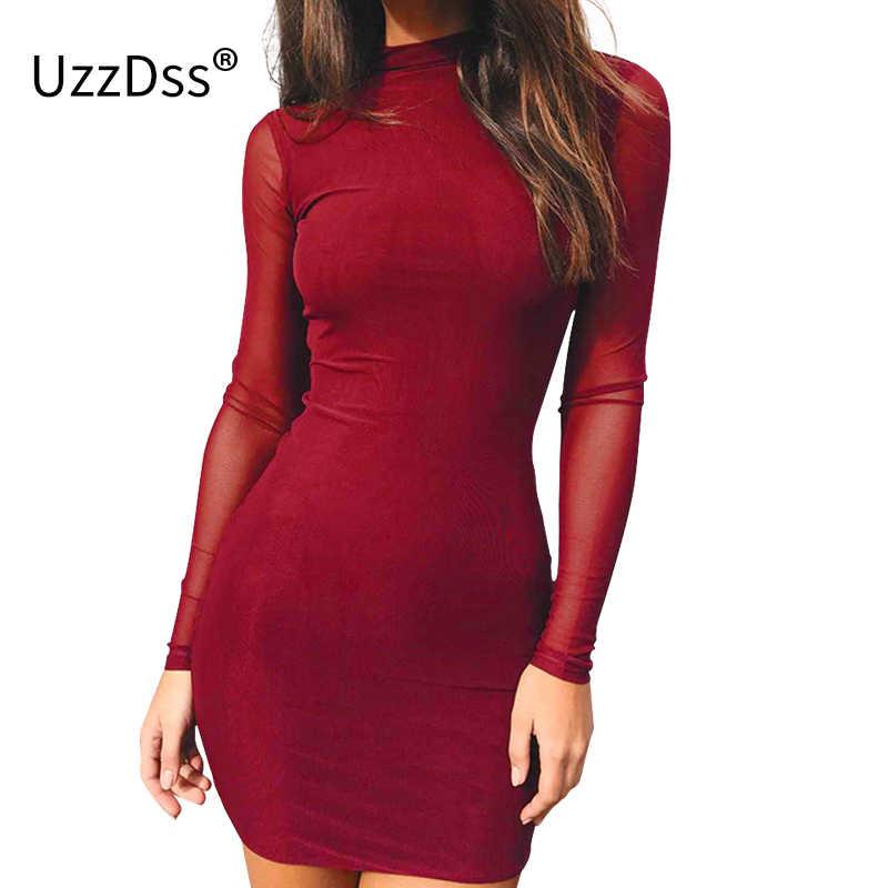 833f4dda45f UZZDSS Elegant Long Sleeve Mesh Bodycon Dress Women Vestidos 2018 Autumn  Fitness Sexy Wine Red Evening