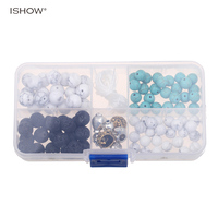 ISHOW DIY Material Box With Natural Stone Beads Elastic Strings Alloy Accessories For Making Buddha Lion