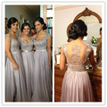 Cap Sleeves Sexy Lace Back Custom Made Short Or Long Brides Maids Dresses
